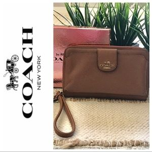 Women's Coach Pebbled Leather Brown wallet